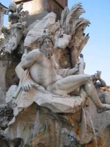 La Fontaine des Quatre-Fleuves, statue du Gange ( Place Navonne à Rome) - Le Bernin - Carlo Morino