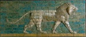 briques glaçurées représentant un lion