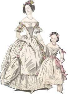Robe de bal extraite de The World of Fashion, January 1838