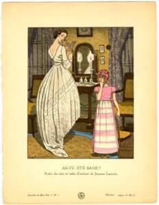 Robe du soir et robe d'enfant de Jeanne Lanvin - Pierre Brissaud - Gazette du Bon Ton, Minneapolis College of Art and Design (MCAD) Bibilothèque