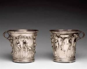 Trésor de Boscoreale : gobelets aux squelettes - Photo (C) RMN-Grand Palais / Hervé Lewandowski- Musée du Louvre
