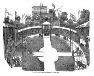 Vue intérieure de l'Hippodrome de la place de l'Étoile à Paris, par Edmond Texier dans Tableaux de Paris - BnF