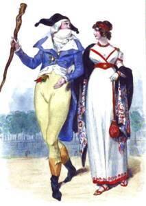 Incroyable et Merveilleuse, dessin de H. Baron ; gravure de L. Massard, dans Les Français sous la Révolution ; Challamel & Tenint ; 1843