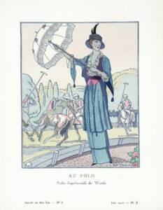 """Au polo. Robe d'après-midi de Worth"",  Maurice Taquoy  - Gazette du Bon ton n°8, 1913"