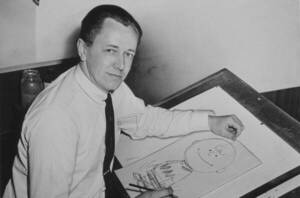 Charles M. Schulz en 1956, dessinant Charlie Brown - Roger Higgins, World Telegram staff photographer - Library of Congress