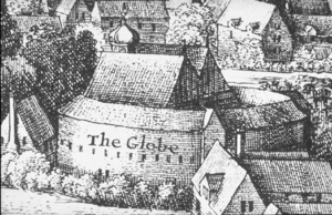 Second Globe Theatre, detail from Hollar's View of London, 1647