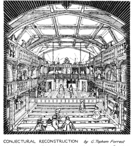 """Blackfriars Theatre : Conjectural Reconstruction"" par G. Topham Forrest, The Times, 1921"