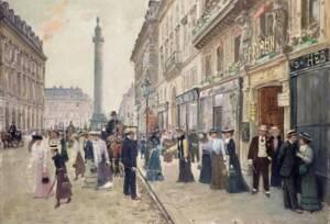 Sortie des ouvrières de la Maison Paquin rue de la Paix, par Jean Béraud - Musée Carnavalet, Paris.