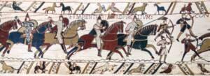 Tapisserie de Bayeux - Scène 51 (partielle) - La bataille d'Hastings: chevaliers et archers normands - Myrabella