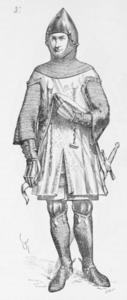 Surcot sur un haubert, xive siècle,  Viollet-le-Duc — Dictionnaire raisonné du mobilier français de l'époque carlovingienne à la Renaissance