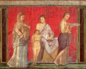 À gauche, femme portant stola et palla (Pompéi, Villa des Mystères) - The Yorck Project