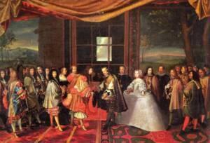 Entrevue de Louis XIV de France et de Philippe IV d'Espagne dans l'Île des Faisans en 1659 (Le roi et les dignitaires français portent déjà la rhingrave, les espagnols, à droite, portent un haut de chausses assez ajusté) -  Jacques Laumosnier - Musée de Tessé