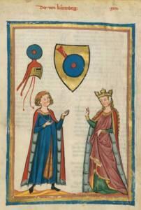Les vêtements masculins et féminins ne sont différenciés que par leur longueur - Codex Manesse